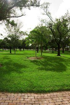 A Brick Path In The Park Long Stock Photos