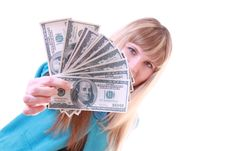 Girl With Dollars Royalty Free Stock Photos