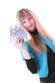 Girl With Dollars Royalty Free Stock Images