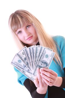 Girl With Dollars Stock Images