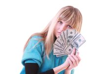 Girl With Dollars Royalty Free Stock Photo
