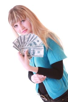 Girl With Dollars Royalty Free Stock Image