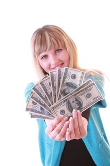 Girl With Dollars Stock Photography
