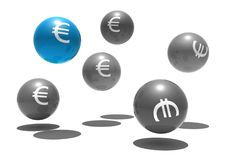 Free Isolated Spheres With Euro Symbol Royalty Free Stock Photos - 8309138