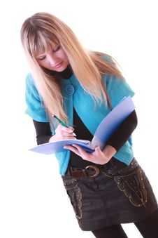Free Woman With Blue Folder Stock Image - 8309641