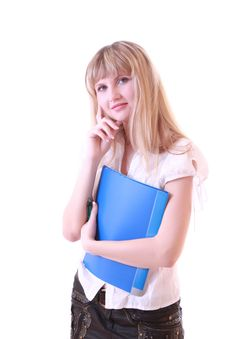 Free Woman With Blue Folder Stock Photos - 8309763