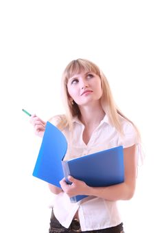 Free Woman With Blue Folder Stock Image - 8309791