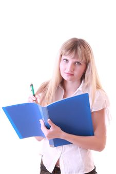 Free Woman With Blue Folder Stock Photos - 8309803