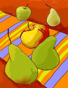 Free Pears And Apple On The Colorful Rug. Royalty Free Stock Photo - 8309855