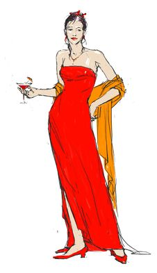 Free Elegant Woman In Red With A Glass Of Wine. Stock Image - 8309881