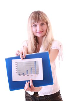 Free Woman Showing Positive Chart Stock Images - 8309914