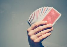 Free Hand Holding Playing Cards Royalty Free Stock Images - 83008989
