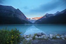 Free Sunset Over Alpine Lake Stock Images - 83009194