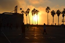Free Basketball Court At Sunset Royalty Free Stock Photos - 83009388