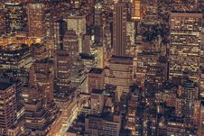 Free Aerial View Of New York City Skyline At Night Stock Photo - 83009800