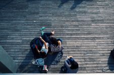 Free Group Of Young Friends Relaxing Outdoors Royalty Free Stock Photo - 83009945