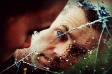 Free Blue Eyed Man Staring At The Mirror Stock Photo - 83010280