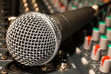Free Microphone On Mixer Royalty Free Stock Photos - 83010368