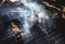 Free Stainless Steel Container On Charcoal Grill Near Raw Meat Stock Images - 83011544