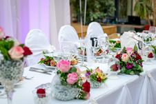 Free Banquet Table With Flowers Stock Image - 83011691