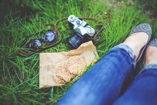 Free Girl Resting On Green Grass With Cookies And Camera Stock Images - 83012314