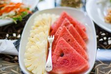 Free Sliced Watermelon And Pineapple Fruit With Stainless Steel Fork Placed On White Ceramic Rectangular Plate Stock Images - 83013264