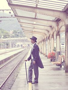 Free Sepia Effects Photo Of Man In Black Tuxedo Standing On Train Station During Daytime Royalty Free Stock Photo - 83013535