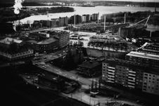 Free Aerial Urban Waterfront In Black And White Royalty Free Stock Images - 83013599
