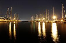 Free Sailboats Illuminated In Harbor Royalty Free Stock Photo - 83013945