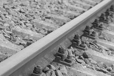 Free Black Metal Bolts In Silver Metal Train Rail Track Surrounder By Gray Stones Stock Image - 83014281