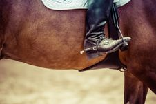 Free Person Riding Brown Horse Put His Feet On Horse Saddle Stock Image - 83014951