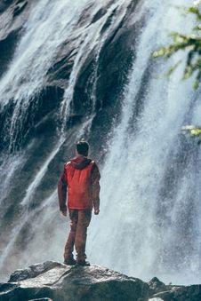 Free Man Beside Waterfall Stock Photos - 83014953
