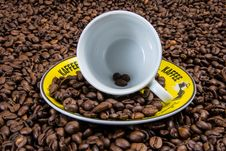 Free White Ceramic Cup On Yellow Plate With Coffee Beans Royalty Free Stock Image - 83015506