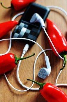 Free Chili And Music Player Royalty Free Stock Photography - 83016697