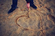 Free Hand Drawing Heart In The Sand Royalty Free Stock Image - 83017216