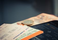 Free Orange And Green Label Airplane Ticket Stock Photo - 83017400