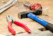 Free Red And Gray Pliers Beside Blue And Black Hammer Stock Image - 83017501
