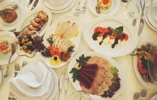 Free Assorted Dishes Served On White Ceramic Oval Plate On The Table Stock Photography - 83017692