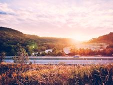Free Sunrise Over Interstate Highway Stock Photography - 83017852