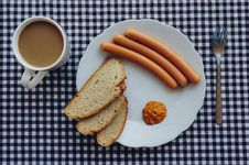 Free Sausages, Bread And Coffee On Table Stock Image - 83018861