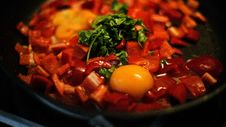 Free Pan Of Peppers With Egg Stock Image - 83019201