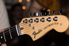 Free Brown Fender Jazzmaster Guitar Headstock Royalty Free Stock Image - 83019586