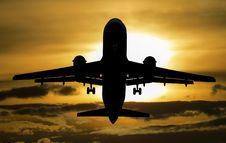 Free Silhouette Of Airplane During Sunset Stock Image - 83021391