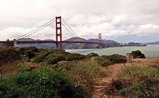 Free Suspension Bridge Across River Estuary Royalty Free Stock Images - 83022239
