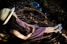 Free Woman Leaning On Brown Tree Stock Images - 83023734