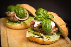 Free Hamburgers With Cheese And Basil Stock Photo - 83023770