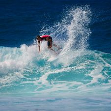 Free Surfer On Wave Royalty Free Stock Photos - 83024088