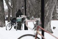 Free Bicycles In Snow Stock Photo - 83035580