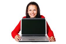 Free Woman Holding Laptop Stock Photography - 83036172