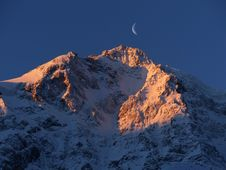 Free Crescent Moon Over Snow Mountain Stock Photography - 83036502